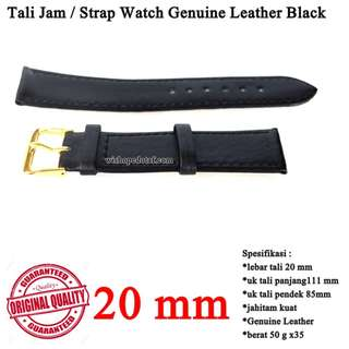 Tali Jam Kulit Genuine Leather Black 20mm