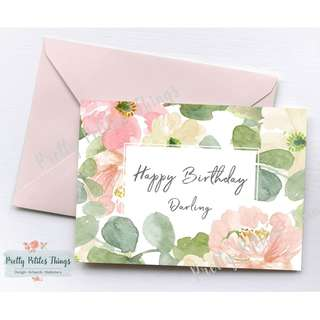 Customizable Watercolour Floral Card - Happy Birthday Darling