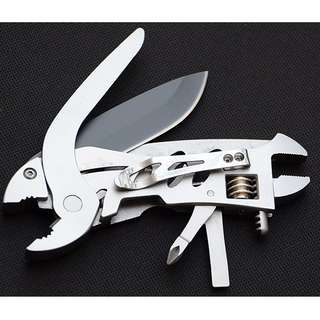Multifunctional EDC Plier Wrench Survival Tool Stainless Steel - MPG06 - Silver