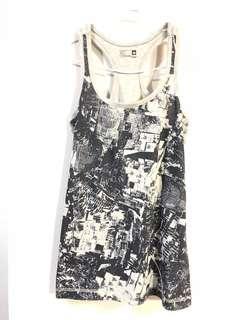 Adidas 灰色花紋愛迪達運動背心 Tank top * size XS