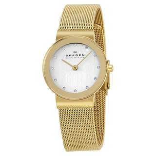 FREJA SILVER DIAL GOLD-PLATED MESH LADIES WATCH 358SGGD