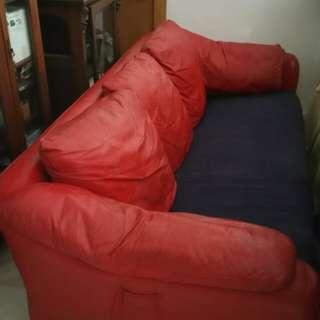 3 seater sofa half leather