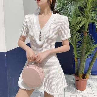Minimei追加款✪韓系韓版百搭休閒 夏季新款V領流蘇修身顯瘦短袖A字針織連衣裙