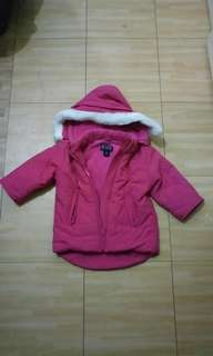 GA69 Children's Place Pink Winter Jacket w/  Removable Hoodie 3T