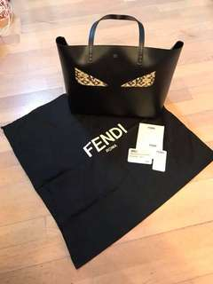 FENDI Calfskin Snakeskin Monster Roll Tote Black
