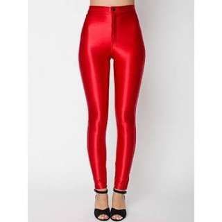 American Apparel red disco tights