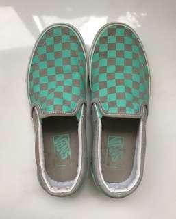 Vans Mint/Grey Checkered Slip On Shoes Women's 7