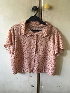 Cropped polo blouse (floral) with