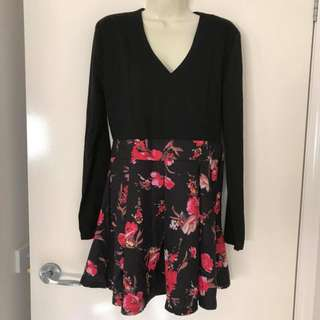 Euc Ladies Size 10 12 black and floral long sleeve skater dress