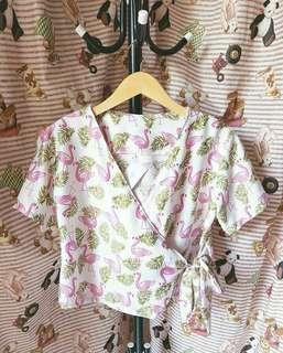 Kimono flowy floral bunga flamingo crop