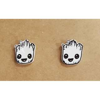 Groot Shrinky Plastic Earrings