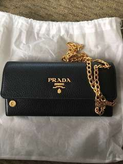 Original Brand New Prada Vitello Grain Leather Wallet on Chain - Black