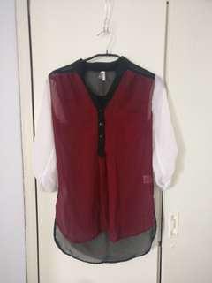 Color block burgundy blouse