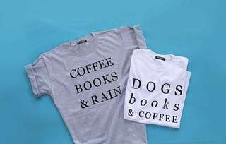 Dogs books and coffee tshirt