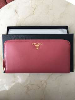 Original Brand New Prada Saffiano Metal Leather Zippy Wallet - Tamaris