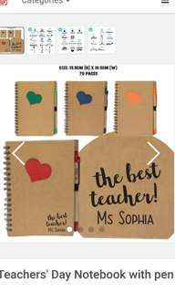 Customised Notebook with lines and with pen for teachers' day/children's day/colleagues