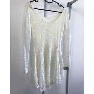 Cream White Long Sleeve Lace Dress
