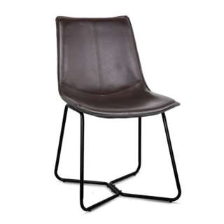 Set of 2 PU Leather Dining Chair - Walnut