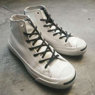 Koleksi pribadiku, sepatu kesayangan yang sudah kekecilan converse jack purcell high white tumbled leather, materialnya leather, harga di store masih tinggi banget