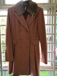 Winter Trench Coat pink with fur collar