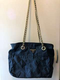 Prada vintage quilted black nylon chain bag復古尼龍黑色菱格紋手袋