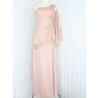 Long Dress/ Evening gown/Gaun pesta warna salem gold kode 6544