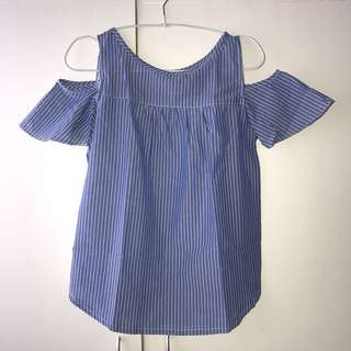 NEW! Cold Shoulder Blouse in Blue with White Stripes