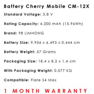Cherry Mobile Flare S4 Max Battery CM-12X