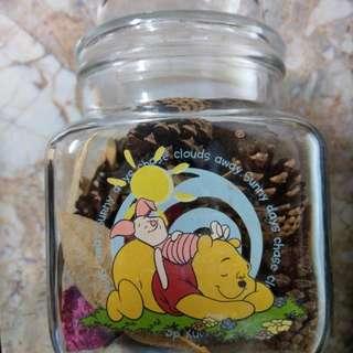 🚚 【芭爸時尚生活館】小熊維尼 玻璃瓶 玻璃罐  乾燥花