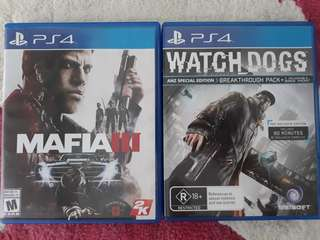 Ps4 Games Mafia 3 and Watch Dogs