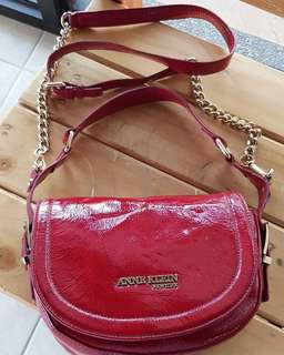 Authentic Anne Klein Patent Red Chain Sling