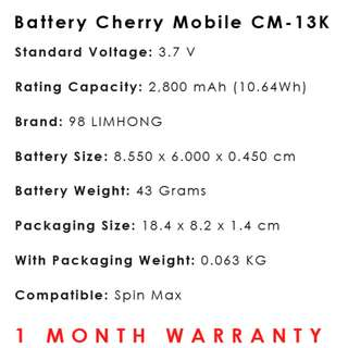 Cherry Mobile Spin Max Battery CM-13K
