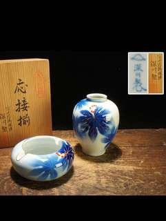 深川製描金藍染唐草花瓶煙缸一套