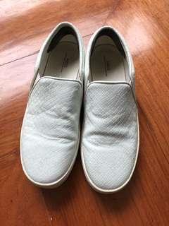 Mango Leather Slip Ons White