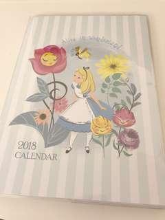 Alice in Wonderland 2018 calendar schedule book