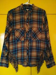 PULL & BEAR Flannel Shirt with Fringes