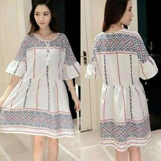 🍃White Linen Vintage Dress