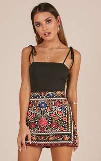 SHOWPO Hips Don't Lie Skirt in Black Embroidery