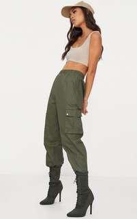 PRETTY LITTLE THING Khaki Pocket Detail Cargo Trousers