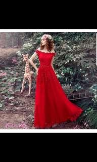 Wine red off shoulder dress/ wedding dress