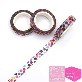 Set of 7m Colourpop Bubbles Slim Washi Tape