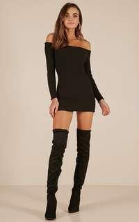 SHOWPO Walk Me Home Knit Dress in Black