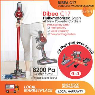 ✔FREE DELIVERY:  Dibea New C17 DUO Cyclone Cordless 2 in 1 Powerful Rage Stick Vacuum Cleaner★ Good for Pets car baby New HDB BTO Condo