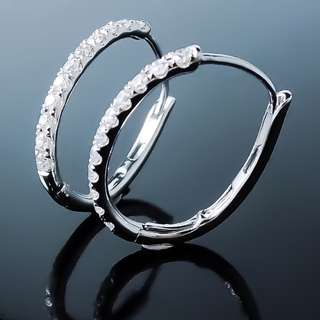 全新18K白金 42份 簡約時尚鑽石耳環--001091-58