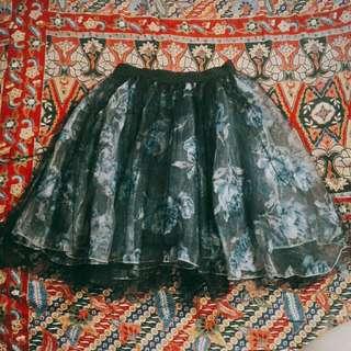 Dark Blue Flowery Skirt