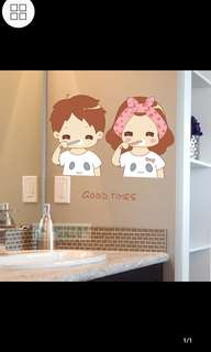 ✔Instock Pvc wall stickers can be removed cute cartoon couple brushing teeth bathroom vanity decorative stickers waterproof stickers diy home decor