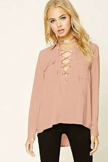 Forever 21 millenial pink lace up top