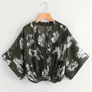 Florals Kimono Sleeve Surplice Blouse