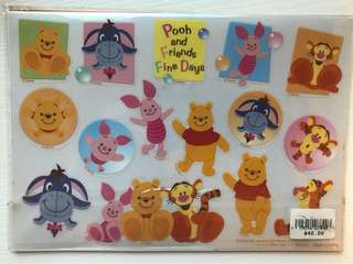 Winnie the Pooh 4 window+2 clear sticker sheet