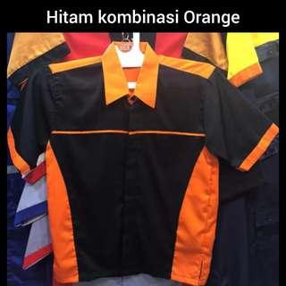 Kemeja kerja - seragam kerja - seragam kantor - seragam pabrik ( PT, CV, UD ) hitam kombinasi orange